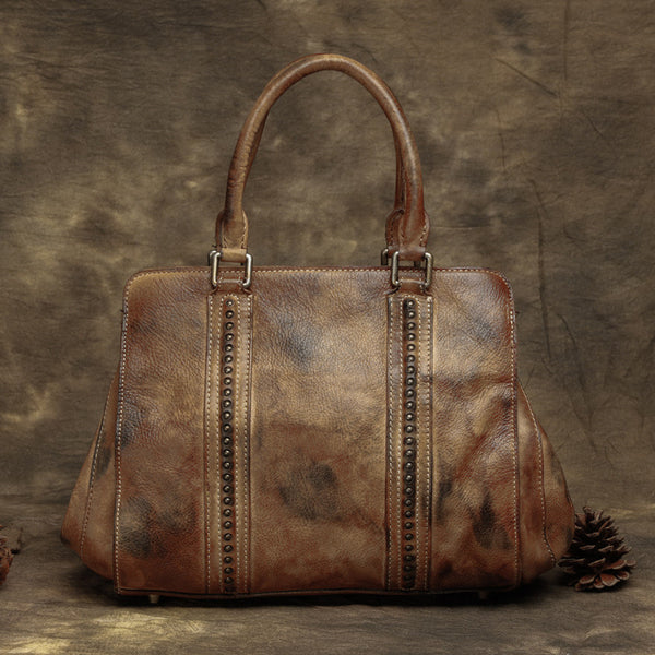 Vintage Leather Ladies Handbags, Full Grain Women Bags, Leather Package T2363 - ROCKCOWLEATHERSTUDIO