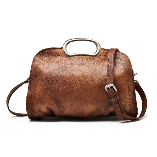 Vegetable Tanned Full Grain Leather Satchel Bag, Handmade Women Designer Handbag WF51