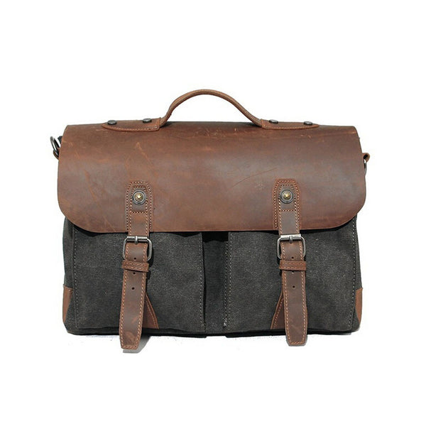 Vintage Leather Waxd Canvas Briefcase Messenger Laptop Bag Shoulder Bag 1023 - ROCKCOWLEATHERSTUDIO