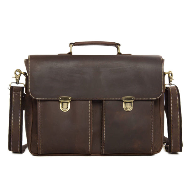 Men's Handmade Leather Briefcase Messenger Laptop Bag Crossobdy Shoulder Bag 6939 - ROCKCOWLEATHERSTUDIO