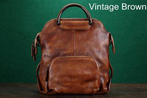 Vintage Full Grain Leather Backpack, Handmade Messenger Bag, Shoulder Bag WF57 - ROCKCOWLEATHERSTUDIO