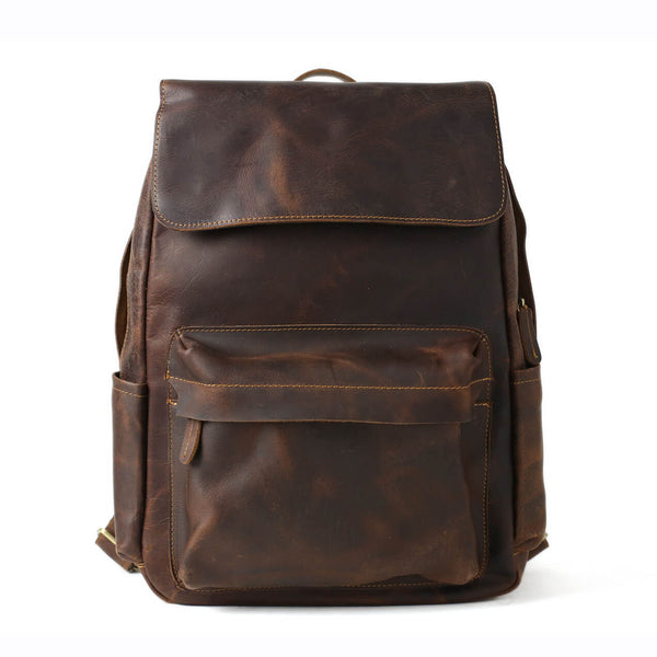 Vintage Full Grain Leather Backpack, Handmade School Backpack, Travel Backpack, Laptop Bag NZ11