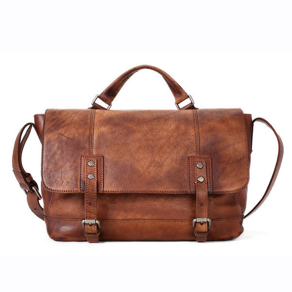 Vintage Full Grain Leather Briefcase, Men's Messenger Bag, 13'' Laptop Bag, Men's Fashion Leather Shoulder Bag 15003 - ROCKCOWLEATHERSTUDIO