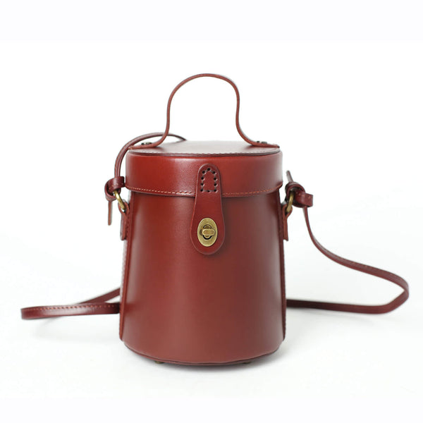 Vintage Full Grain Leather Bucket Bag, Handmade Shoulder Bag, Wonmen Handbag TY9005 - ROCKCOWLEATHERSTUDIO