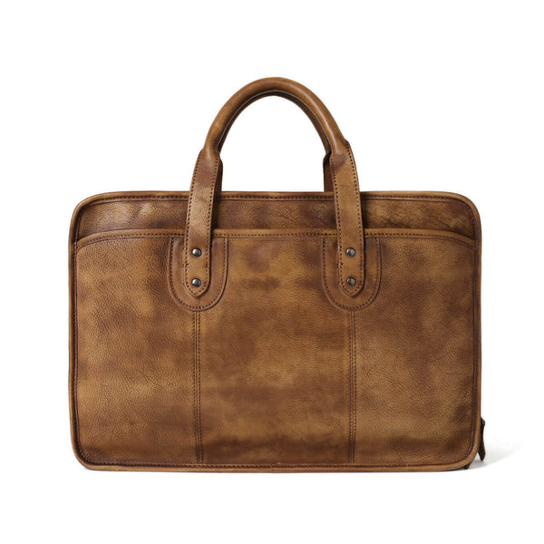 Vintage Full Grain Leather Men Briefcase, 16'' Laptop Bag, Handmade Business Handbag NZ01