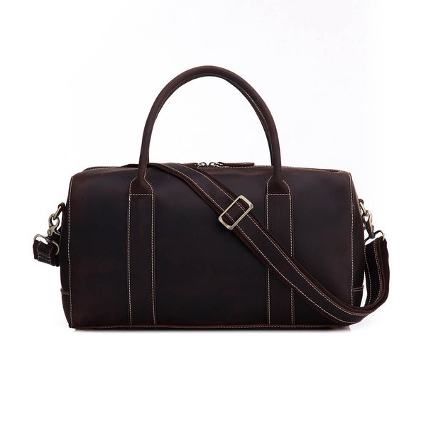 Vintage Full Grain Leather Travel Bag, Duffle Bag, Weekender Bag 8643 - ROCKCOWLEATHERSTUDIO