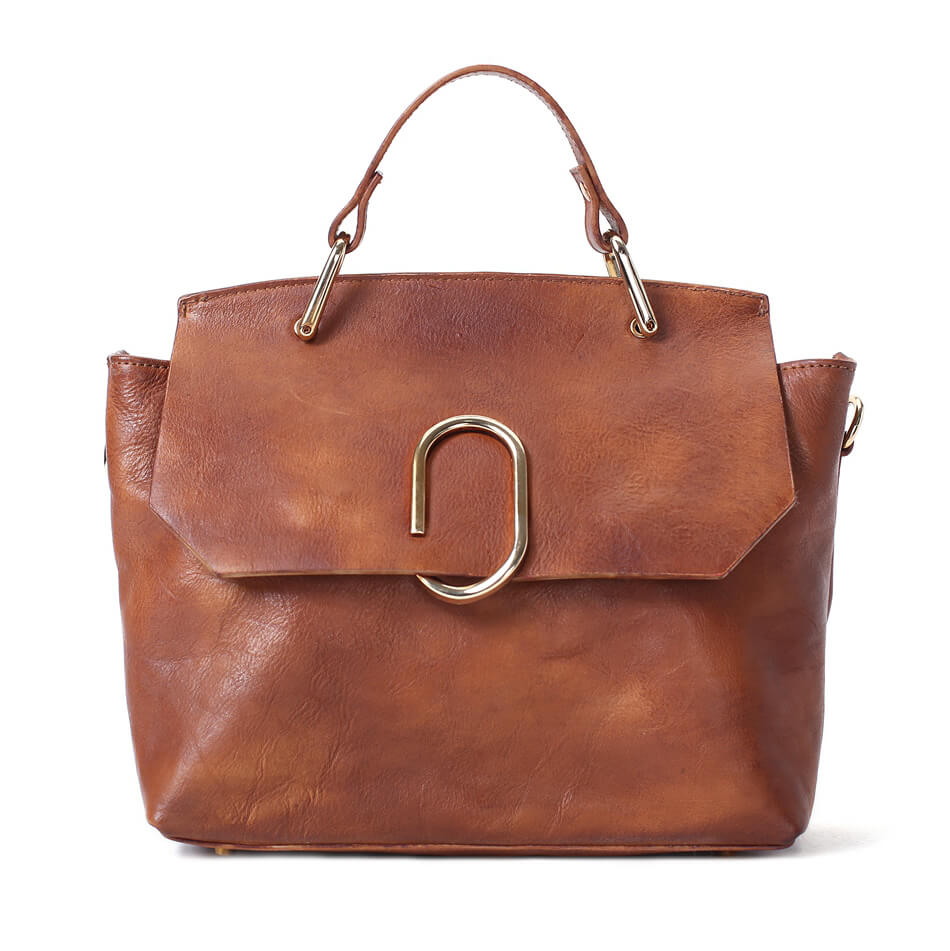 7ddefb9e5cb3 Vintage Full Grain Leather Women Handbag
