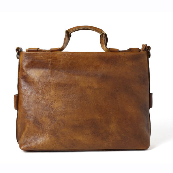 Vintage Genuine Full Gain Leather Briefcase Handbag, Men's Laptop Bag, Handmade Bag 246 - ROCKCOWLEATHERSTUDIO