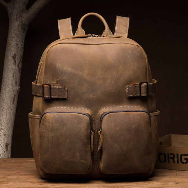 Vintage Travel Backpack Crazy Horse Leather Laptop Backpack Men School Backpack MSG9865 - ROCKCOWLEATHERSTUDIO