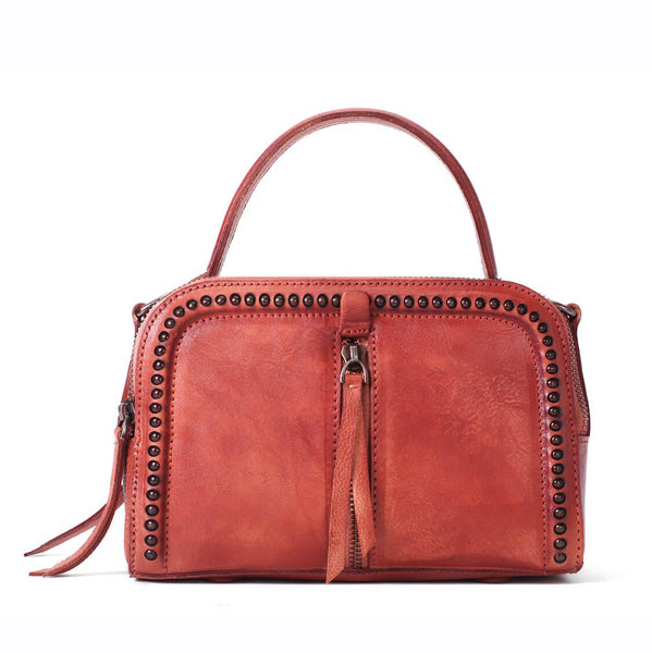 Vintage Vegetable Tanned Leather Handbag, Handmade Shoulder Bag, Small Satchel in Red YS03 - ROCKCOWLEATHERSTUDIO