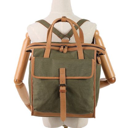 Waterproof Canvas Backpack Women Canvas Leather Tote Bag Casual Outdoor Backpack Shoulder Bags YY039