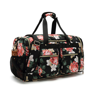 Waterproof Canvas Travel Bag Printing Canvas Duffle Bag Canvas Leather Overnight Bag YY001