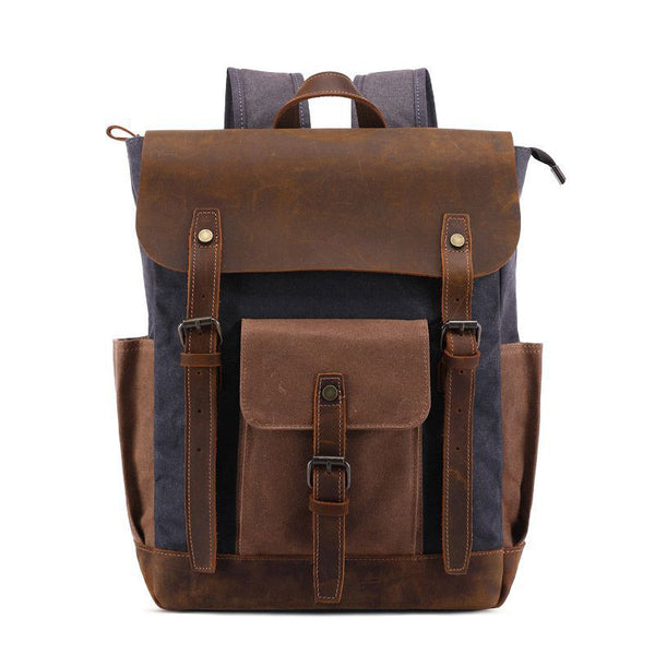 Waterproof Travel Backpack Crazy Horse Leather With Waxed Canvas Backpack Men Laptop Backpack Retro Backpack BTST0011 - ROCKCOWLEATHERSTUDIO