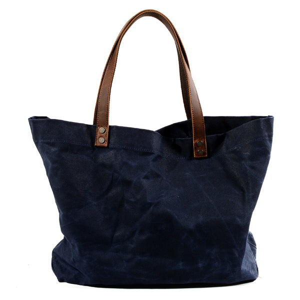 Waterproof Waxed Canvas Handbag Full Grain Leather With Canvas Tote Bag Vintage Style Big Shoulder Bag MC6119