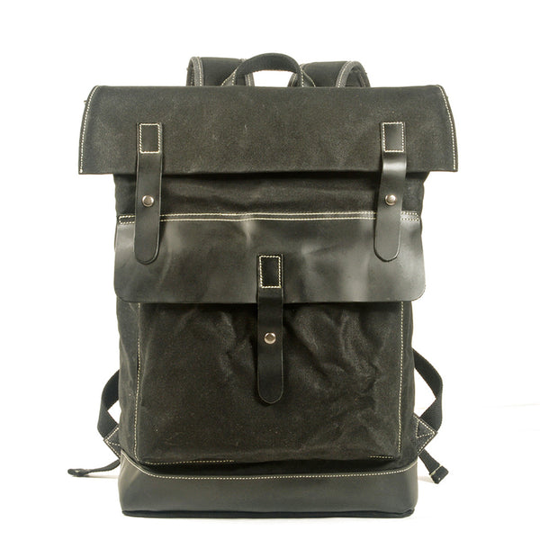 Waxed Canvas Backpack Vintage Full Grain Leather With Canvas Travel Backpack Waterproof Laptop Backpack MC5010