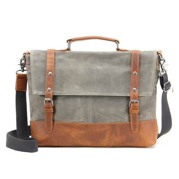 WATERPROOF WAXED CANVAS MESSENGER BAG, MEN'S SHOULDER BAG, CANVAS BAG WITH LEATHER TRIM FX2008-1