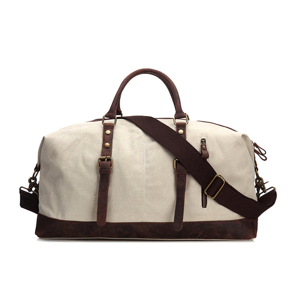c786d8ef47d5 ... Oversized Waxed Canvas Duffle Bag with Leather Trim