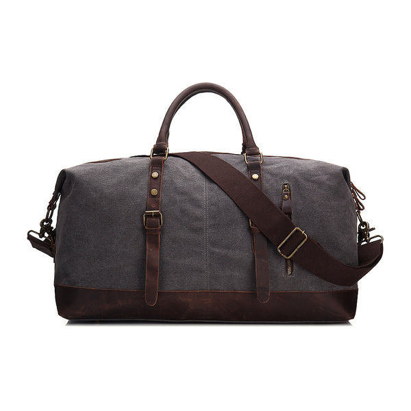 Oversized Waxed Canvas Duffle Bag with Leather Trim, Travel Bags for Men