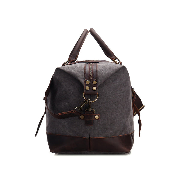 662354c86 ... Oversized Waxed Canvas Duffle Bag with Leather Trim, Travel Bags for  Men ...