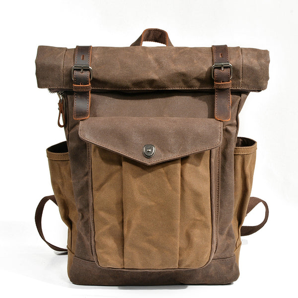 Waxed Canvas Leather Backpack With Roll Up Top Unisex Waterproof Canvas Travel Rucksack Laptop Backpack Christmas Gifts MC9120-2