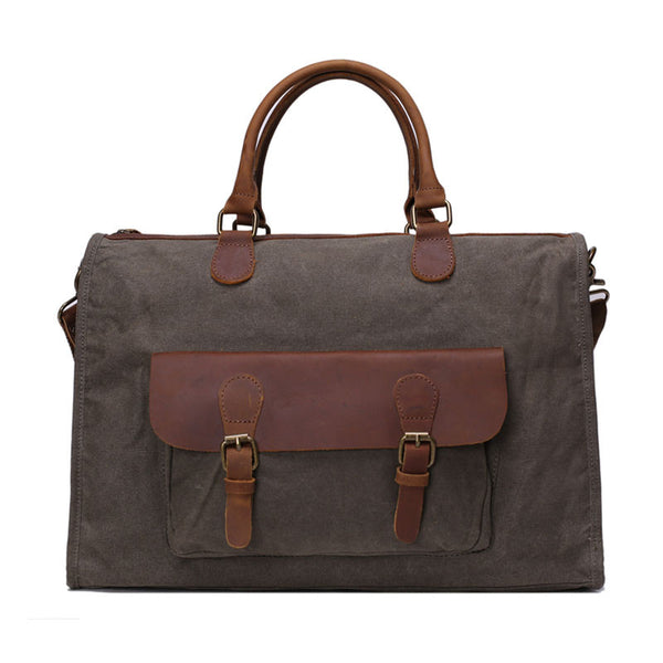 Fashion Canvas Genuine Leather Trim Travel Briefcase Laptop Bag YD2167 - ROCKCOWLEATHERSTUDIO
