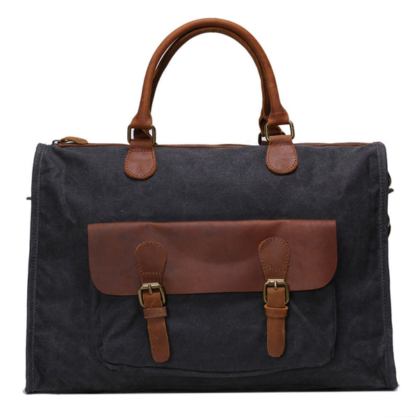 Vintage Canvas Leather Messenger Traveling Briefcase Shoulder Laptop Bag YD2167 - ROCKCOWLEATHERSTUDIO