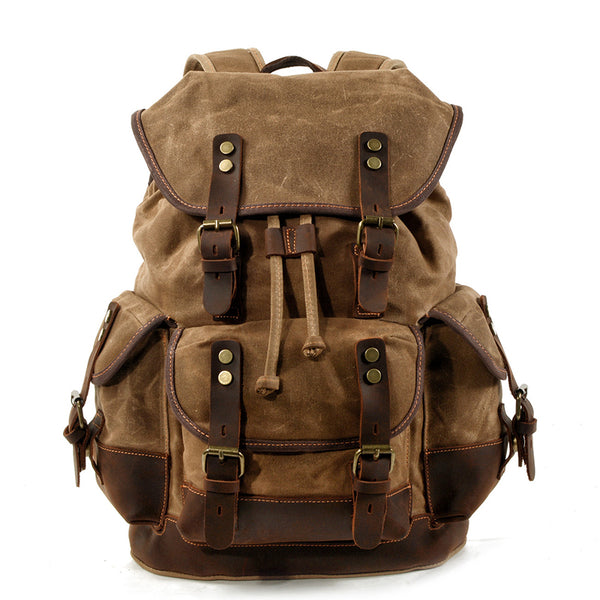 Waxed Canvas Leather Travel Rucksack Canvas With Full Grain Leather Laptop Bag Retro Waterproof Outdoor Hiking Backpack MC9508