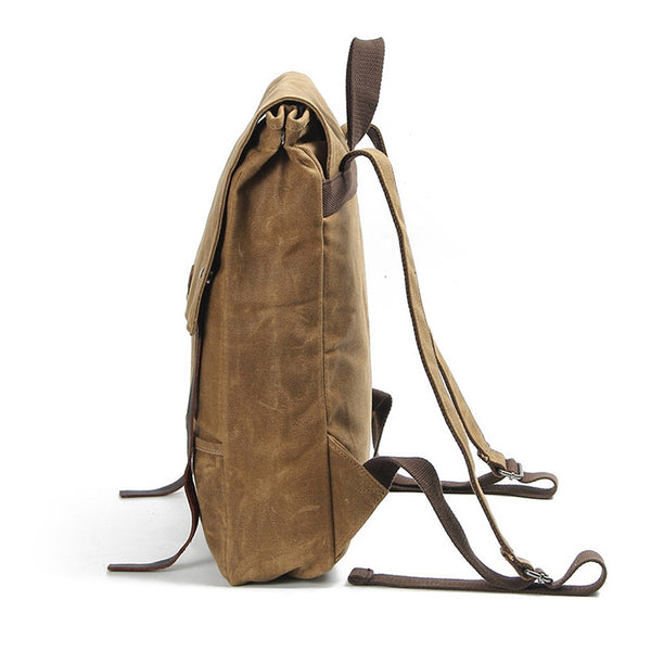 ... Waxed Canvas Leather Backpack Waterproof Rucksack Mens Canvas Backpack  AF17 ... 4f97f83015d65
