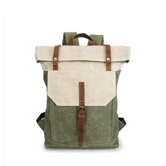 VINTAGE CANVAS LEATHER BACKPACK HIKING DAYPACKS LAPTOP BACKPACKS UNISEX CASUAL RUCKSACK YD5191-1 - ROCKCOWLEATHERSTUDIO