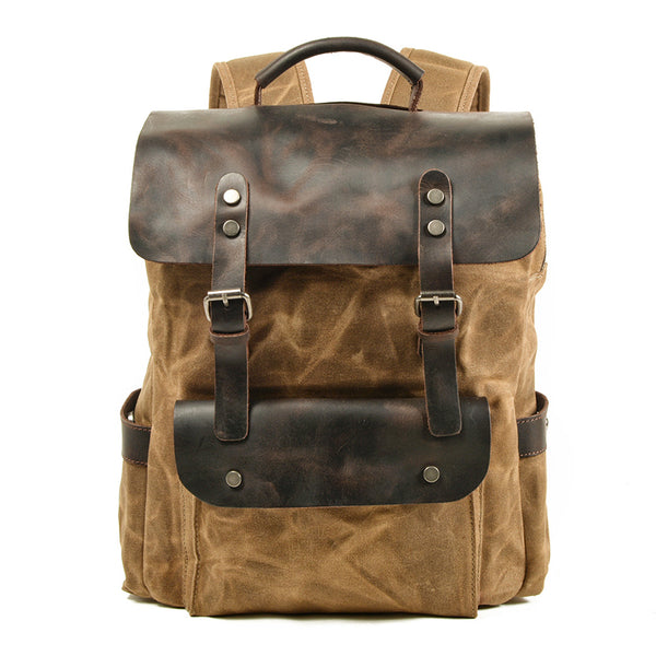 Waxed Canvas Travel Backpack Canvas With Full Grain Leather School Laptop Backpack Handmade Unisex Hiking Backpack MC8064K-LA