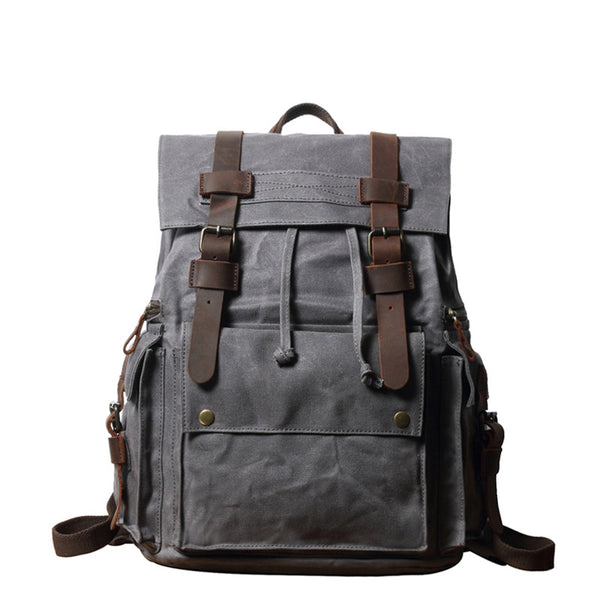 Waxed Canvas Travel Backpack Men Waterproof Laptop Backpack Retro School Backpack FX888010