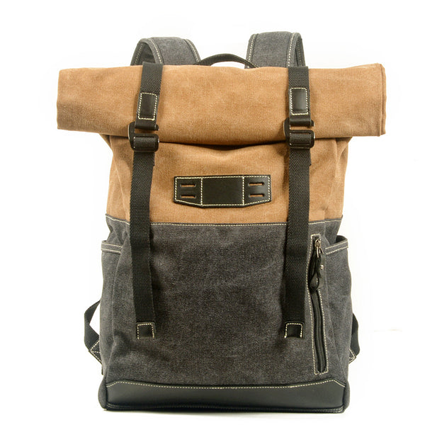 Waxed Canvas Travel Backpack Waterproof Canvas And Full Grain Leather Laptop Backpack Retro Outdoor Rucksack MC5002-F