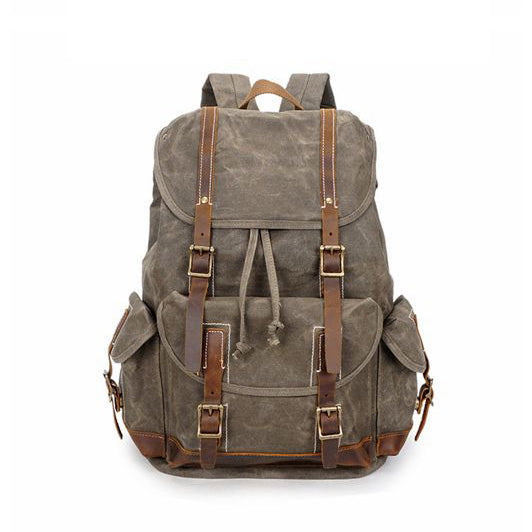 Vintage Waxed Canvas Backpack, Waterproof Backpack, Mens Canvas Backpack