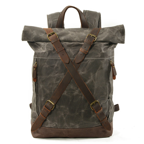 Waxed Canvas Unisex Travel Backpack Waterproof Mountaineering Backpack Canvas With Full Grain Leather Laptop Rucksack MC9505