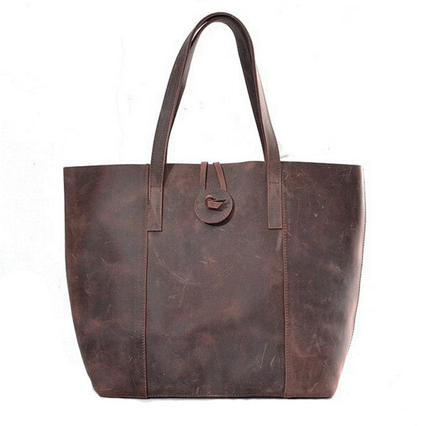 Handcrafted Vintage Crazy Horse Leather Women Tote Bag, Shopping Bag, Shoulder Bag YD006 - ROCKCOWLEATHERSTUDIO