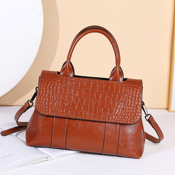 Women Top Grain Leather Tote Handbag Leather Shoulder Bag For Women Leather Purse Stylish Crossbody Bags SX55-6092