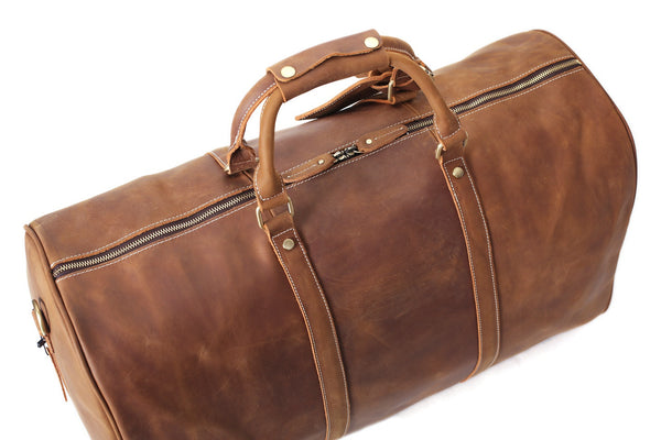 RockCow Vintage Leather Duffle Bag Mens Travel Gym Bags For Men