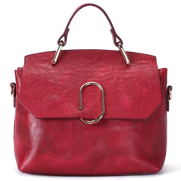 Vintage Full Grain Leather Women Handbag, Designer Satchels Bag, Fashion Shoulder Bag C205