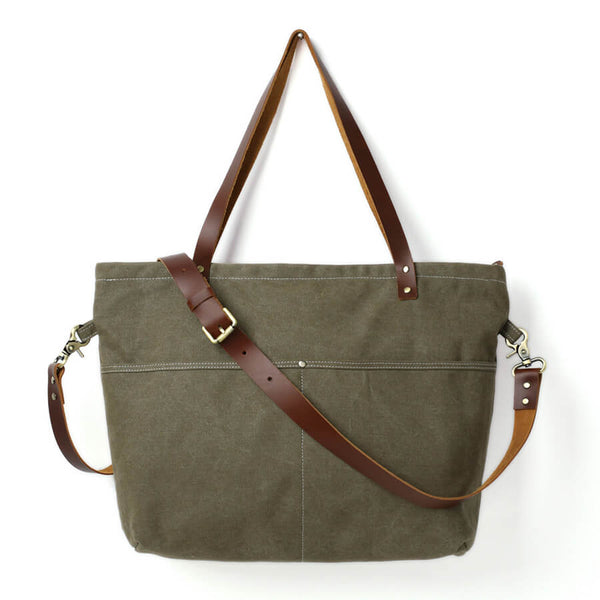 Waxed Canvas Tote Bag, Women Shoulder Bag With Leather, Diaper Bag, Handbag 14022 - ROCKCOWLEATHERSTUDIO