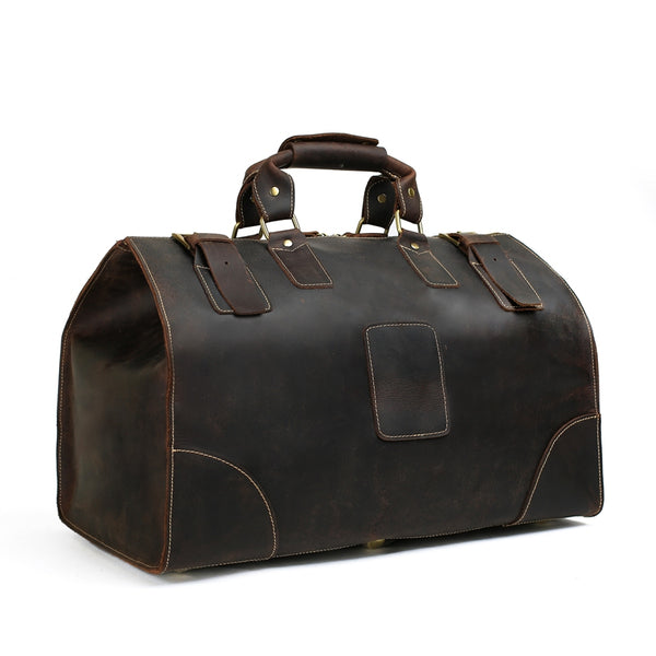 Vintage Style Large Crazy Horse Leather Duffle Bag - ROCKCOWLEATHERSTUDIO