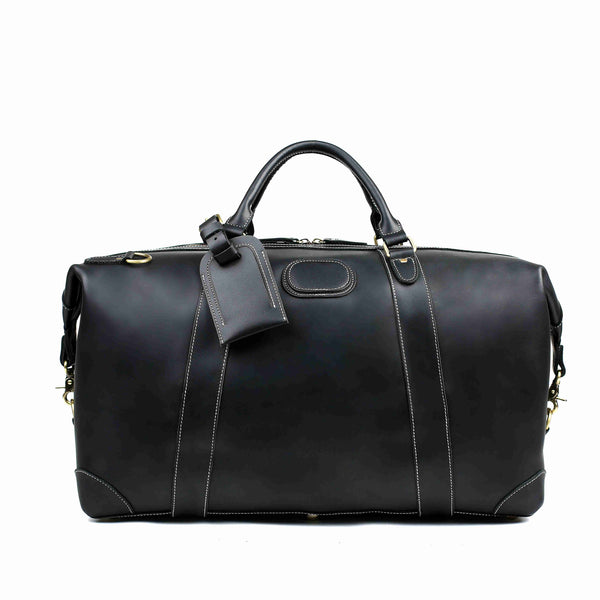 RockCow Black Leather Duffle Bag, Mens Weekend Bag, Mens Travel Bag