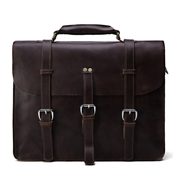 Flash Sale Genuine Leather Men Messenger Bag Shoulder Bag Satchel Bag TA73 - ROCKCOWLEATHERSTUDIO