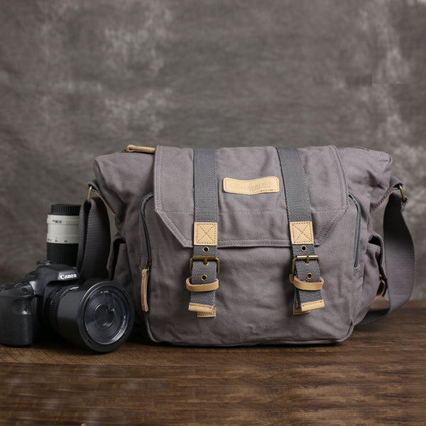 Canvas DSLR Camera Bag, Professional SLR Camera Bag, Men's Canvas Messenger Bag BBK-1 - ROCKCOWLEATHERSTUDIO
