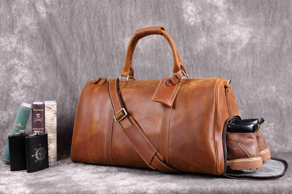 Vintage Crazy Horse Leather Duffle Bag with Shoes Compartment, Leather Travel Bag, Weekend Bag