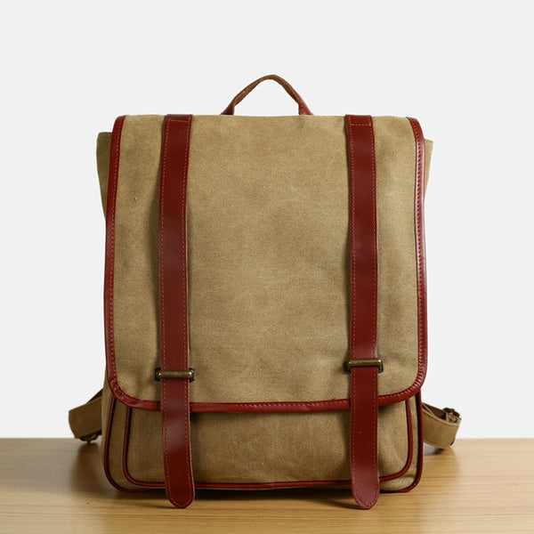 308f0238962c ... Flash Sale Waxed Canvas Backpack with Full Grain Leather