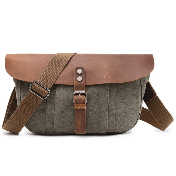 New Designer Canvas Leather Messenger Bag Vintage Crossbody Shoulder Bag For Men 2075 - ROCKCOWLEATHERSTUDIO
