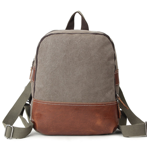 Outdoor Travelling Canvas Leather Backpack, Vintage Waterproof Shoulder Bag K2021 - ROCKCOWLEATHERSTUDIO