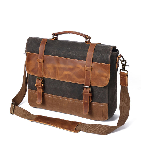 Handmade Canvas Leather Briefcase Vintage Crazy Horse Messenger Bag Crossbody Shoulder Bag Laptop Bag 8806 - ROCKCOWLEATHERSTUDIO