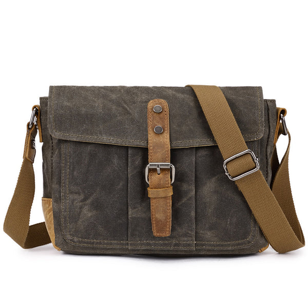 Canvas Leather Briefcase Vintage Messenger Bag Crossbody Shoulder Bag 8807 - ROCKCOWLEATHERSTUDIO