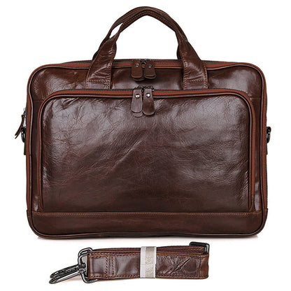 Rockcow Handcrafted Top Grain Leather Briefcase Men's Business Laptop Messenger Bag Classic Shoulder Bags 7005Q